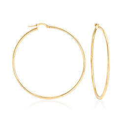 Italian 2mm 18kt Yellow Gold Large Hoop Earrings, , default