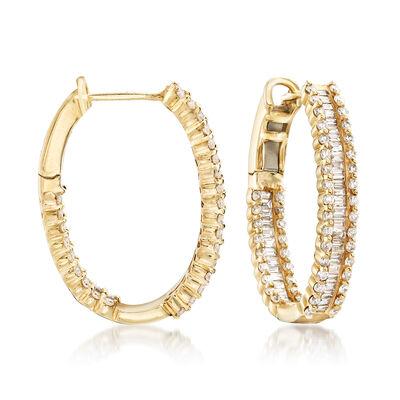 1.82 ct. t.w. Diamond Hoop Earrings in 14kt Yellow Gold, , default