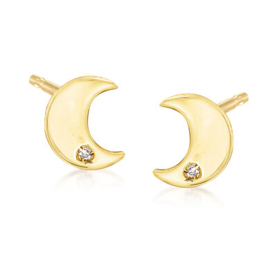 Italian 14kt Yellow Gold Moon Stud Earrings with Diamond Accent