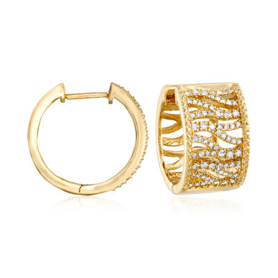 .50 ct. t.w. Diamond Tiger-Print Hoop Earrings in 18kt Gold Over Sterling