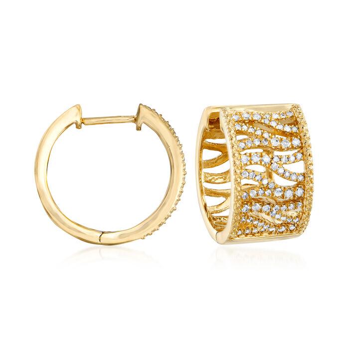 .50 ct. t.w. Diamond Tiger-Print Hoop Earrings in 18kt Gold Over Sterling