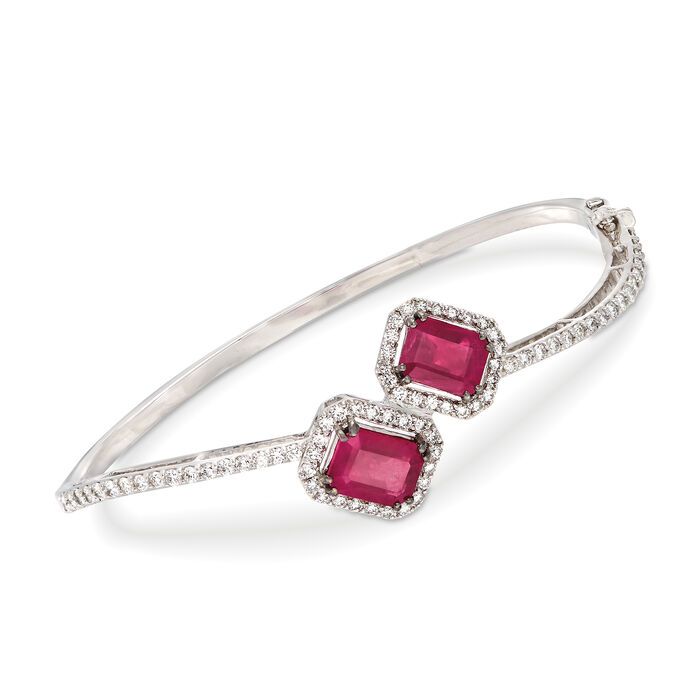 "5.00 ct. t.w. Ruby and 1.59 ct. t.w. Diamond Hinged Bypass Bracelet in 18kt White Gold. 7"", , default"