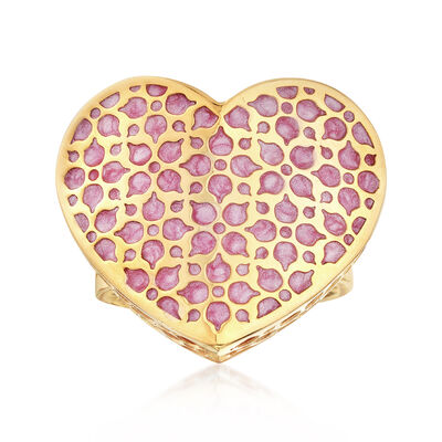 Italian Pink Enamel Heart Shaped Ring in 14kt Yellow Gold, , default