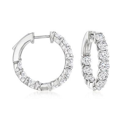 4.00 ct. t.w. Diamond Inside-Outside Hoop Earrings in Platinum
