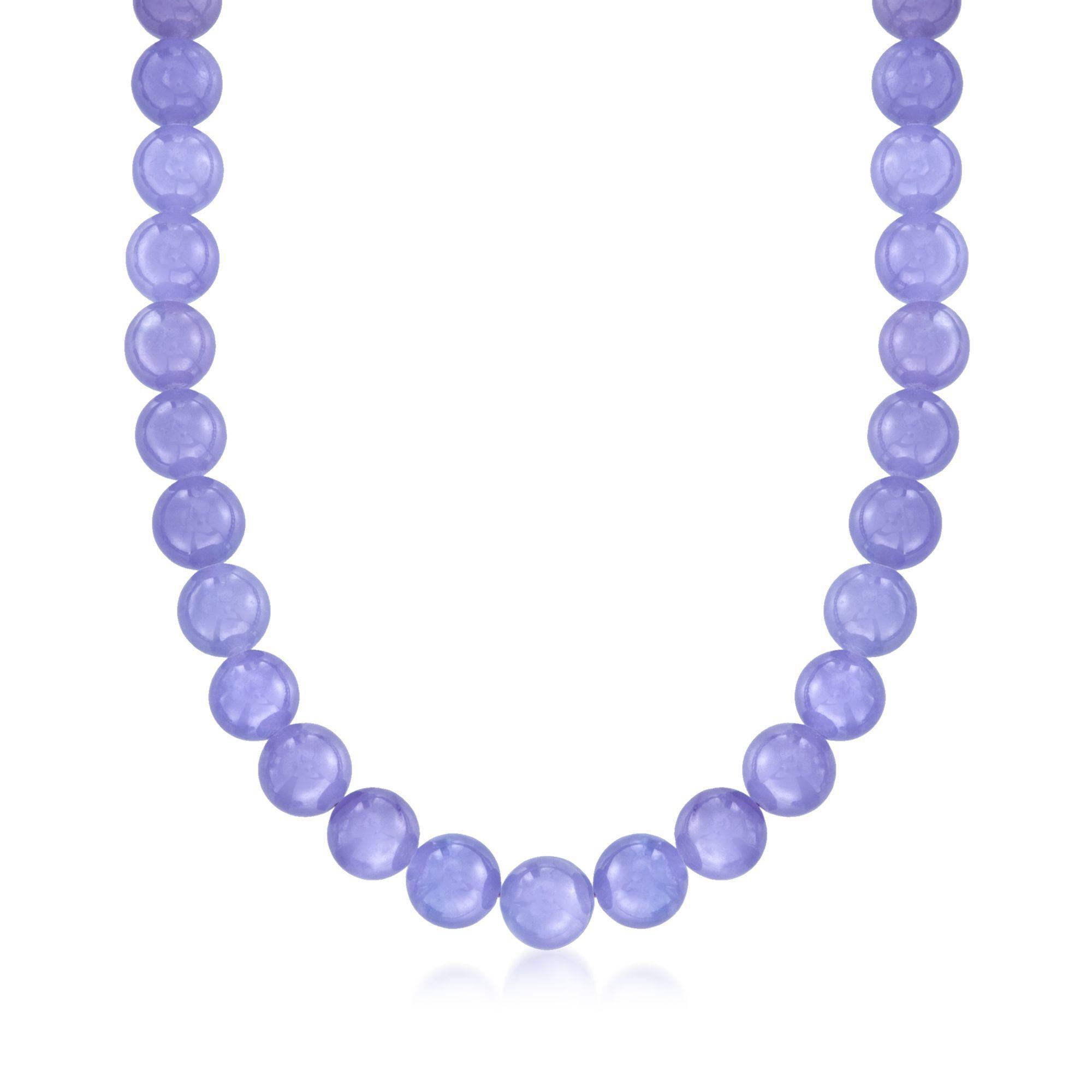 "Fashion Beautiful 10mm Purple Jade Gemstone Beads Necklace 18/"""