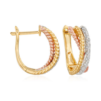 .15 ct. t.w. Diamond Crisscross Hoop Earrings in Tri-Colored Sterling Silver, , default