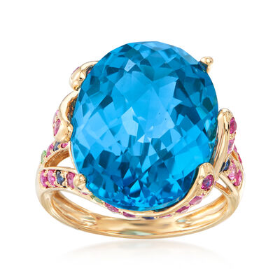19.00 Carat Swiss Blue Topaz, .50 ct. t.w. Ruby and .20 ct. t.w. Sapphire Ring with Tsavorite Accents in 14kt Yellow Gold