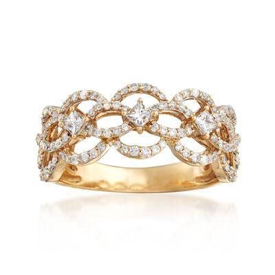 .63 ct. t.w. Diamond Openwork Ring in 14kt Yellow Gold, , default