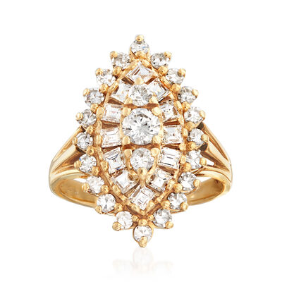 C. 1980 Vintage 1.70 ct. t.w. Diamond Cluster Ring in 14kt Yellow Gold, , default