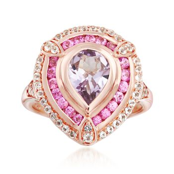 2.09 ct. t.w. Multi-Stone Ring in 18kt Rose Gold Over Sterling, , default