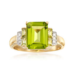 3.80 ct. t.w. Peridot Ring With Diamond Accents in 14kt Yellow Gold . Size 7, , default