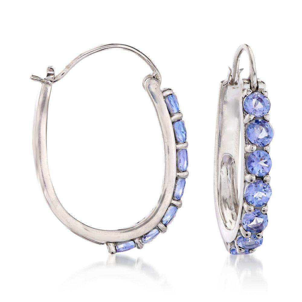 T W Tanzanite Hoop Earrings In Sterling Silver 1 8