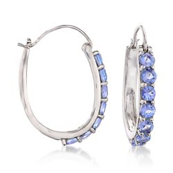 "3.20 ct. t.w. Tanzanite Hoop Earrings in Sterling Silver. 1 1/8"", , default"