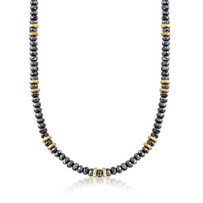 Italian Hematite Beaded Necklace in 18kt Yellow Gold Over Sterling Silver, , default