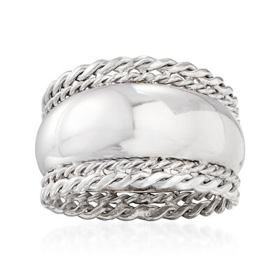 Sterling Silver Roped-Edge Ring