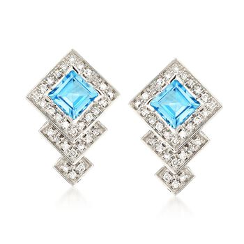 .90 ct. t.w. Blue Topaz and .18 ct. t.w. Diamond Drop Earrings in 14kt White Gold, , default