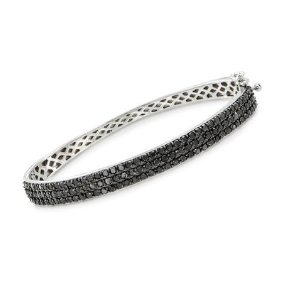 3.00 ct. t.w. Black Diamond Bangle Bracelet in Sterling Silver
