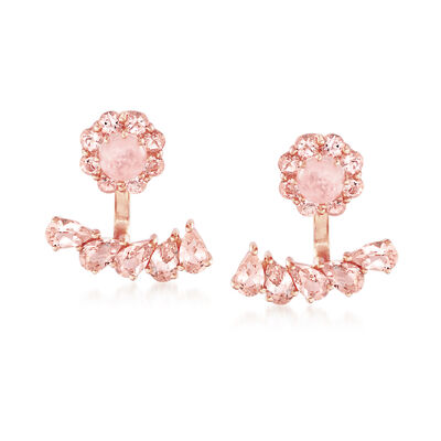 3.80 ct. t.w. Morganite Front-Back Earrings in 18kt Rose Gold Over Sterling, , default