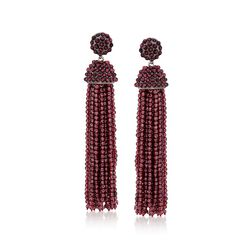 Garnet Bead Tassel Drop Earrings in Sterling Silver , , default