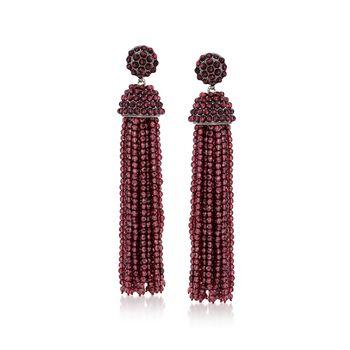 Garnet Bead Tassel Drop Earrings in Sterling Silver , , default
