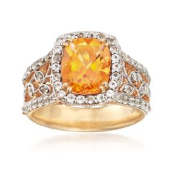 2.60 Carat Citrine and 1.00 ct. t.w. White Topaz Ring in 14kt Gold Over Sterling, , default