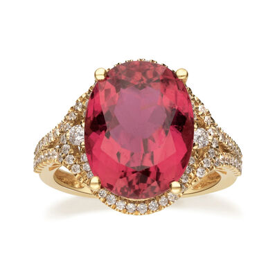 8.25 Carat Pink Tourmaline and .47 ct. t.w. Diamond Ring in 18kt Yellow Gold