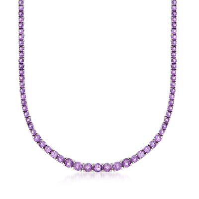14.20 ct. t.w. Graduated Amethyst Necklace in Sterling Silver, , default