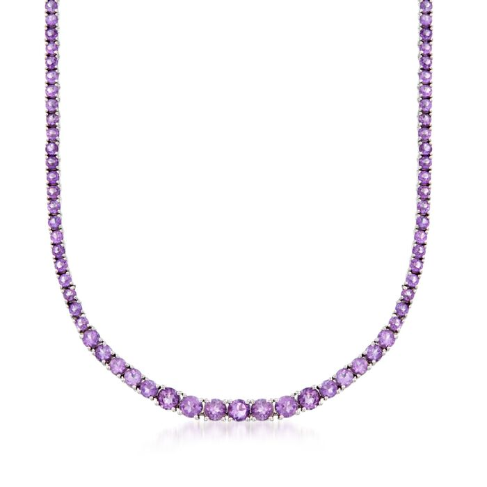 14.20 ct. t.w. Graduated Amethyst Necklace in Sterling Silver
