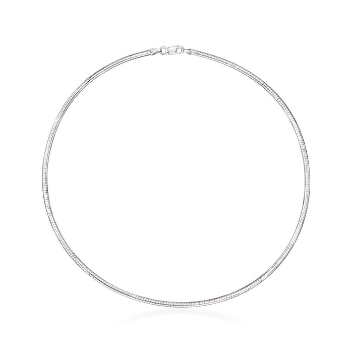 2.5mm Sterling Silver Round Omega Necklace, , default