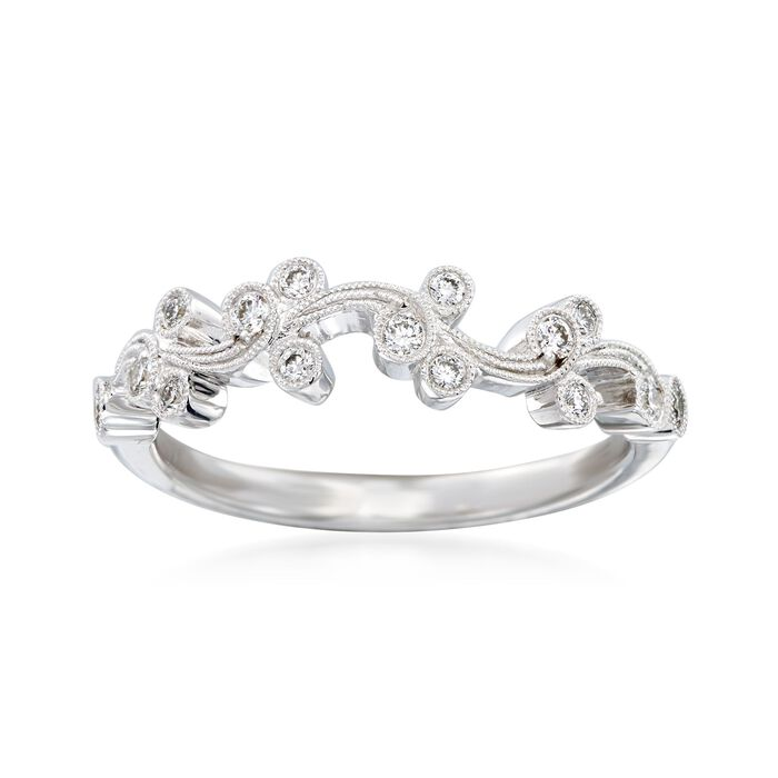 .17 ct. t.w. Diamond Floral Ring in 18kt White Gold