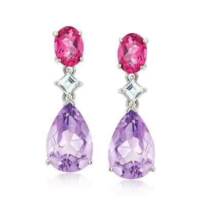 2.50 ct. t.w. Pink and White Topaz and 5.50 ct. t.w. Amethyst Drop Earrings in Sterling Silver , , default