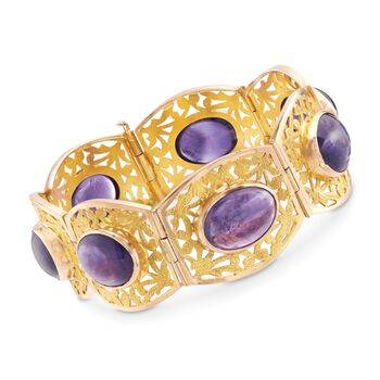 "C. 1990 Vintage 58.80 ct. t.w. Amethyst Bracelet in 14kt Rose and 18kt Yellow Gold. 7.5"", , default"