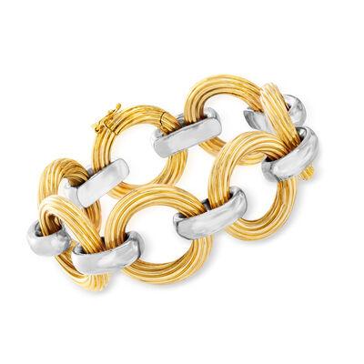 C. 1980 Vintage 18kt Two-Tone Gold Link Bracelet, , default