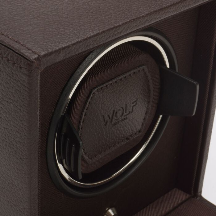 """""""Cub Winder"""" Brown Single Watch Winder with Cover by Wolf Designs"""