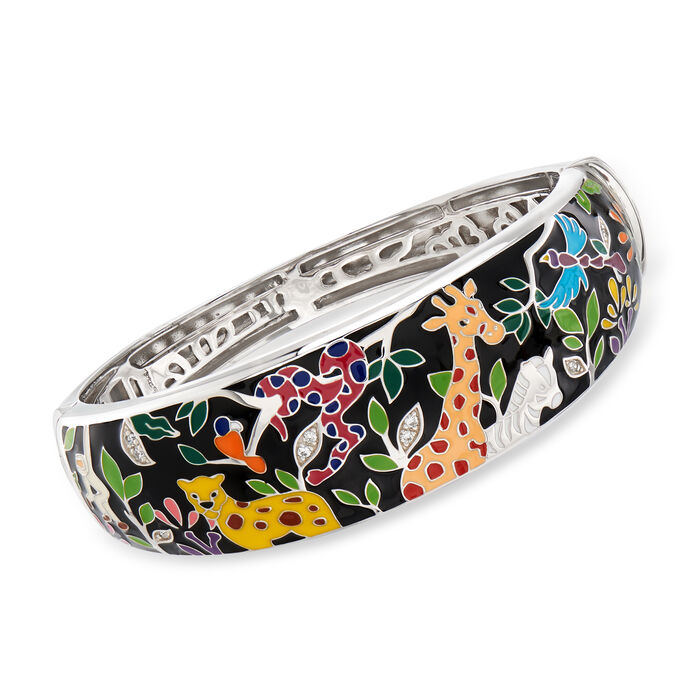 "Belle Etoile ""Serengeti"" Black and Multicolored Enamel Bangle Bracelet in Sterling Silver. 7.5"", , default"