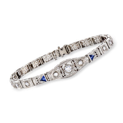 C. 1950 Vintage .75 ct. t.w. Diamond and .24 ct. t.w. Synthetic Sapphire Bracelet in 14kt White Gold