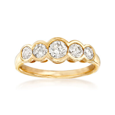 1.00 ct. t.w. Bezel-Set Diamond Five-Stone Ring in 14kt Yellow Gold