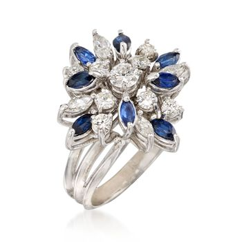C. 1970 Vintage 1.55 ct. t.w. Diamond and .75 ct. t.w. Sapphire Floral Cluster Ring in 14kt White Gold. Size 5.5, , default