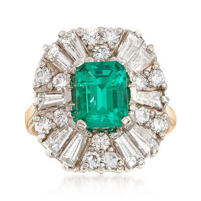C. 1980 Vintage 1.90 Carat Emerald and 2.85 ct. t.w. Diamond Ring in 14kt Yellow Gold, , default