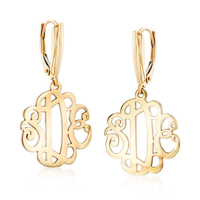 14kt Yellow Gold Monogram Drop Earrings, , default