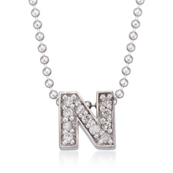 "Diamond Accent Initial ""N"" Pendant Necklace in 14kt White Gold. 16"", , default"