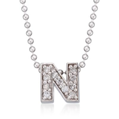 "Diamond Accent Initial ""N"" Pendant Necklace in 14kt White Gold, , default"