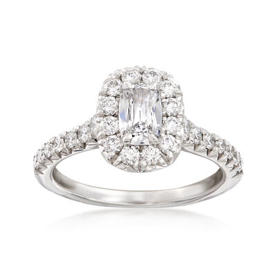 Henri Daussi 1.24 ct. t.w. Diamond Halo Engagement Ring in 18kt White Gold