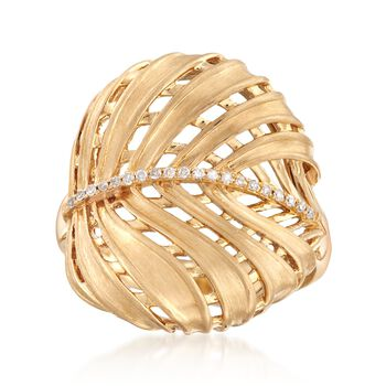 18kt Yellow Gold Leaf Ring With Diamond Accents , , default