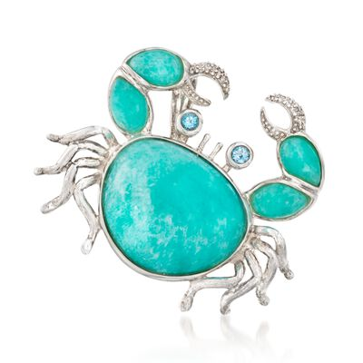 Amazonite Crab Pendant with .25 ct. t.w. Blue Topaz and CZ Accents in Sterling Silver, , default