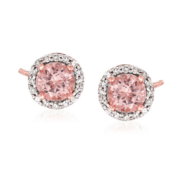 1.00 ct. t.w. Morganite and .16 ct. t.w. Diamond Halo Stud Earrings in 14kt Rose Gold, , default