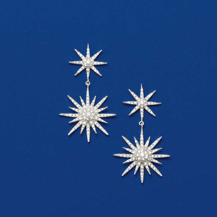 1.00 ct. t.w. Diamond Starburst Drop Earrings in 14kt White Gold