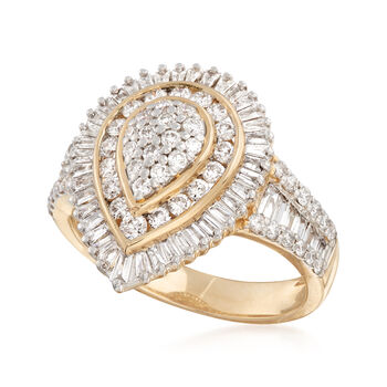 1.00 ct. t.w. Baguette and Round Diamond Ring in 14kt Yellow Gold. Size 7, , default