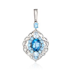 3.50 ct. t.w. London and Swiss Blue Topaz Pendant in Sterling Silver, , default