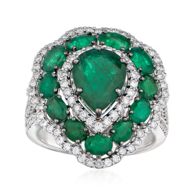 4.50 ct. t.w. Emerald and .93 ct. t.w. Diamond Scallop Ring in 14kt White Gold, , default